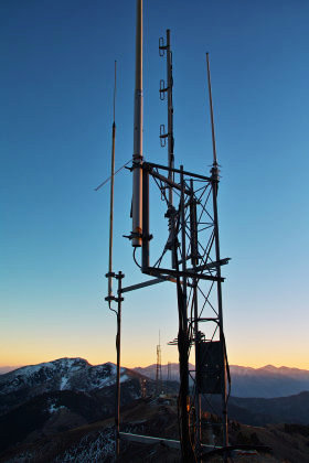 The 6 meter repeater antenna atop Farnsworth Peak