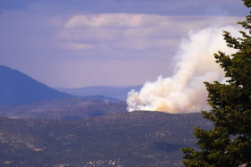 July 24, 2007 - Fire west of Fairview.  Fire-fighting airplane is visible.