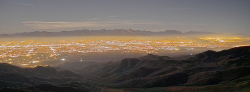 Time exposure of the Salt Lake valley as viewed from the mountaintop